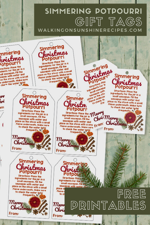 Free printable gift tags for simmering potpourri homemade gift ideas.