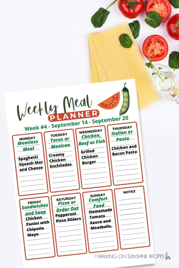 Weekly Meal Plan for week #4