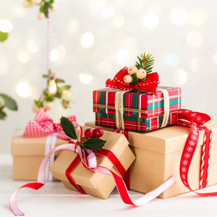 12 Days of Christmas  with boxes wrapped in paper and ribbons.