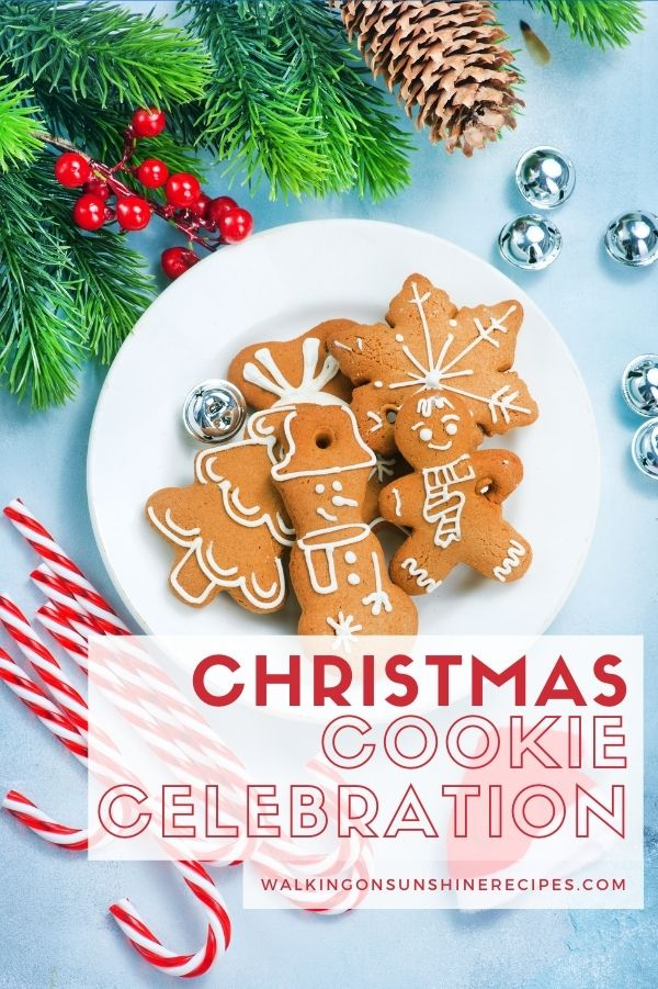 plate of Christmas cookies with candy canes