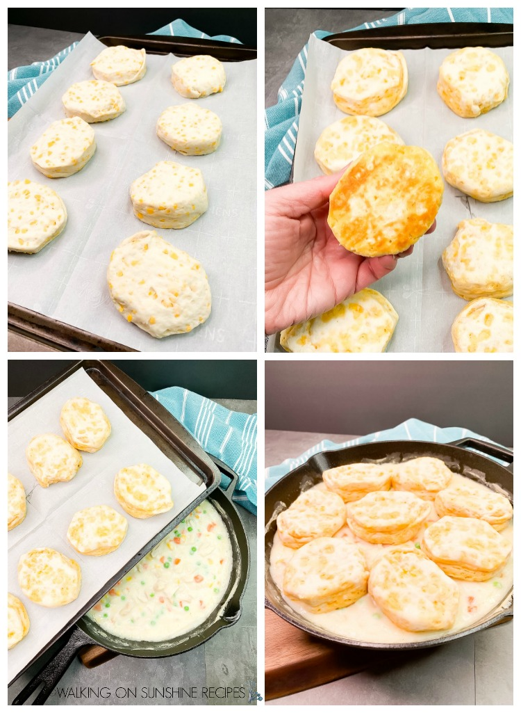 Add refrigerator biscuits to the top of creamy chicken and vegetables mixture