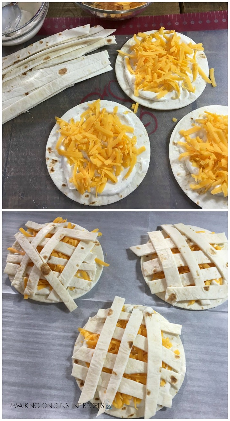 Add strips of flour tortillas on top to make mummys