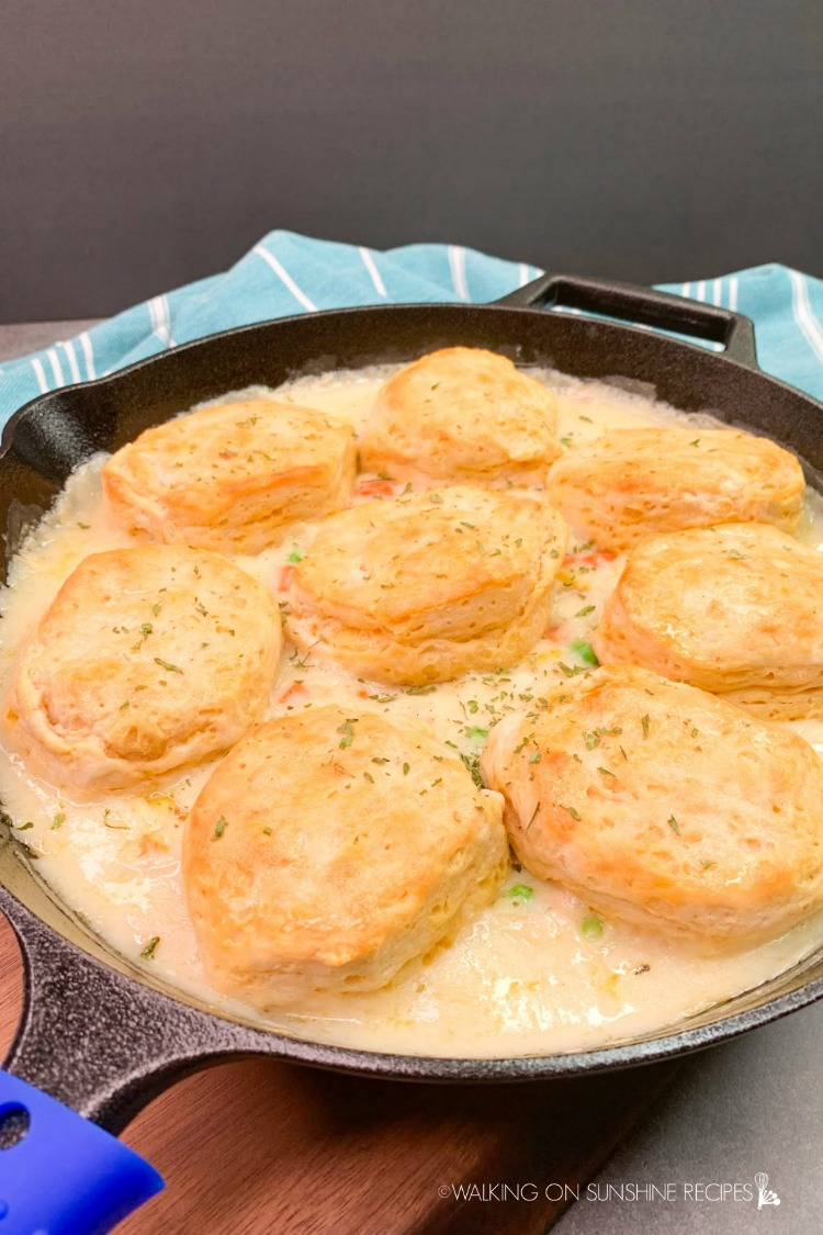 Baked Skillet Chicken Pot Pie with Biscuits