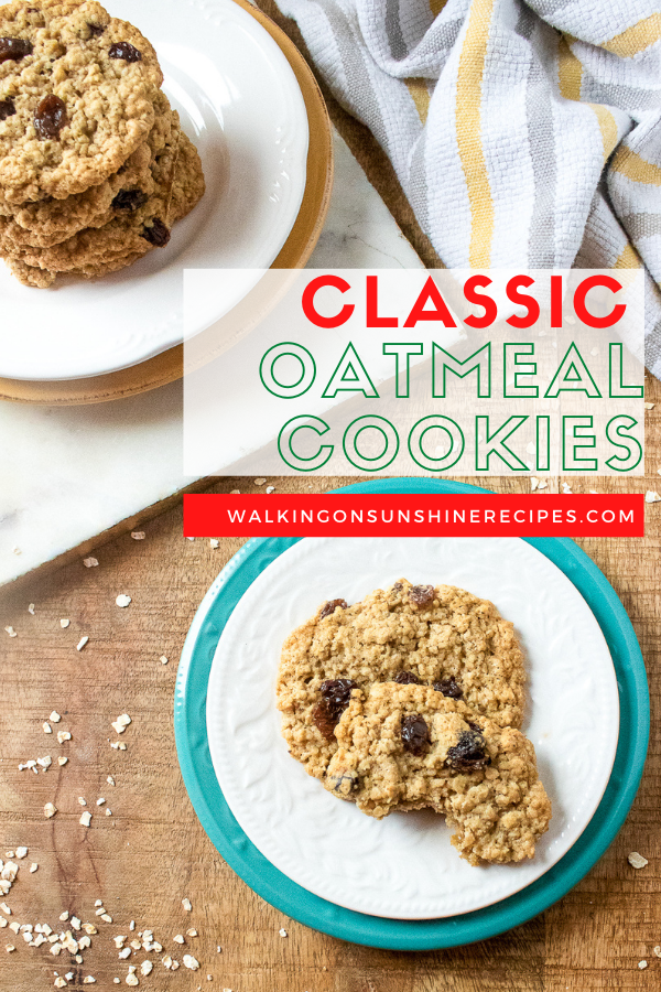 Classic Kitchenaid mixer cookie recipes Oatmeal cookies on white plate.
