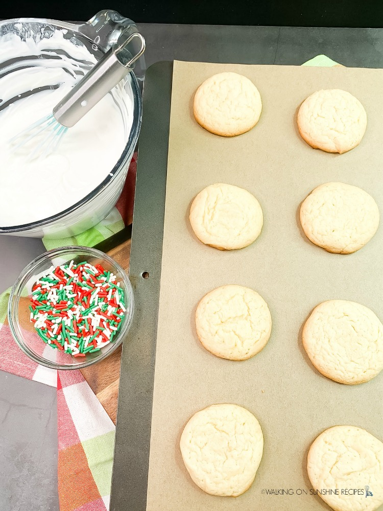 Cooked white cake mix cookies on baking tray