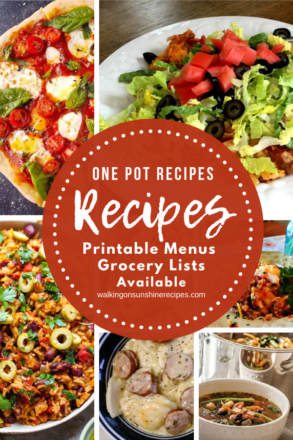 7 one pot recipes  for our Weekly Meal Plan.