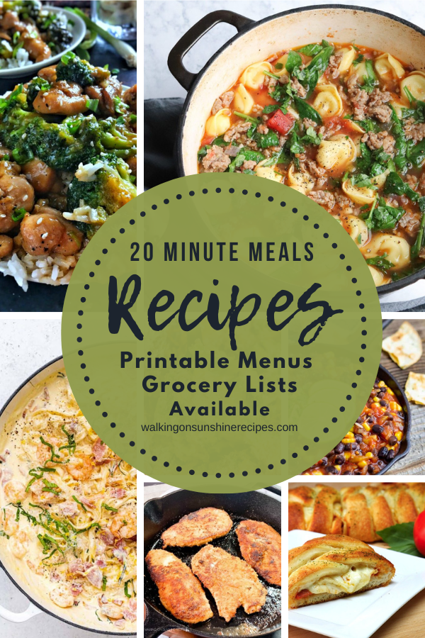 20 minute recipes for our weekly meal plan.