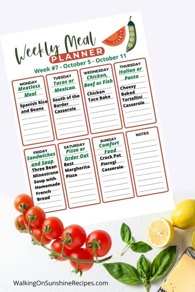 Weekly Meal Planner for the week of October 5 to October 11.