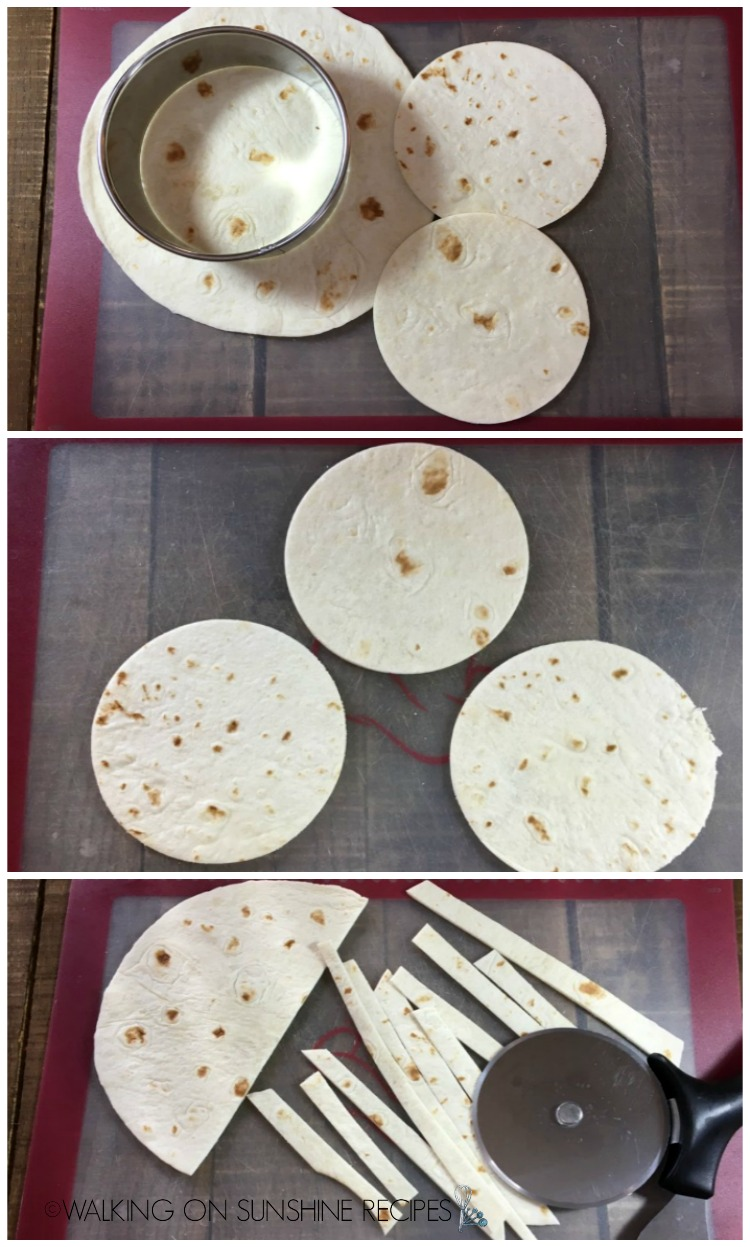 Cut out round shapes and strips for  Mummy Quesadillas