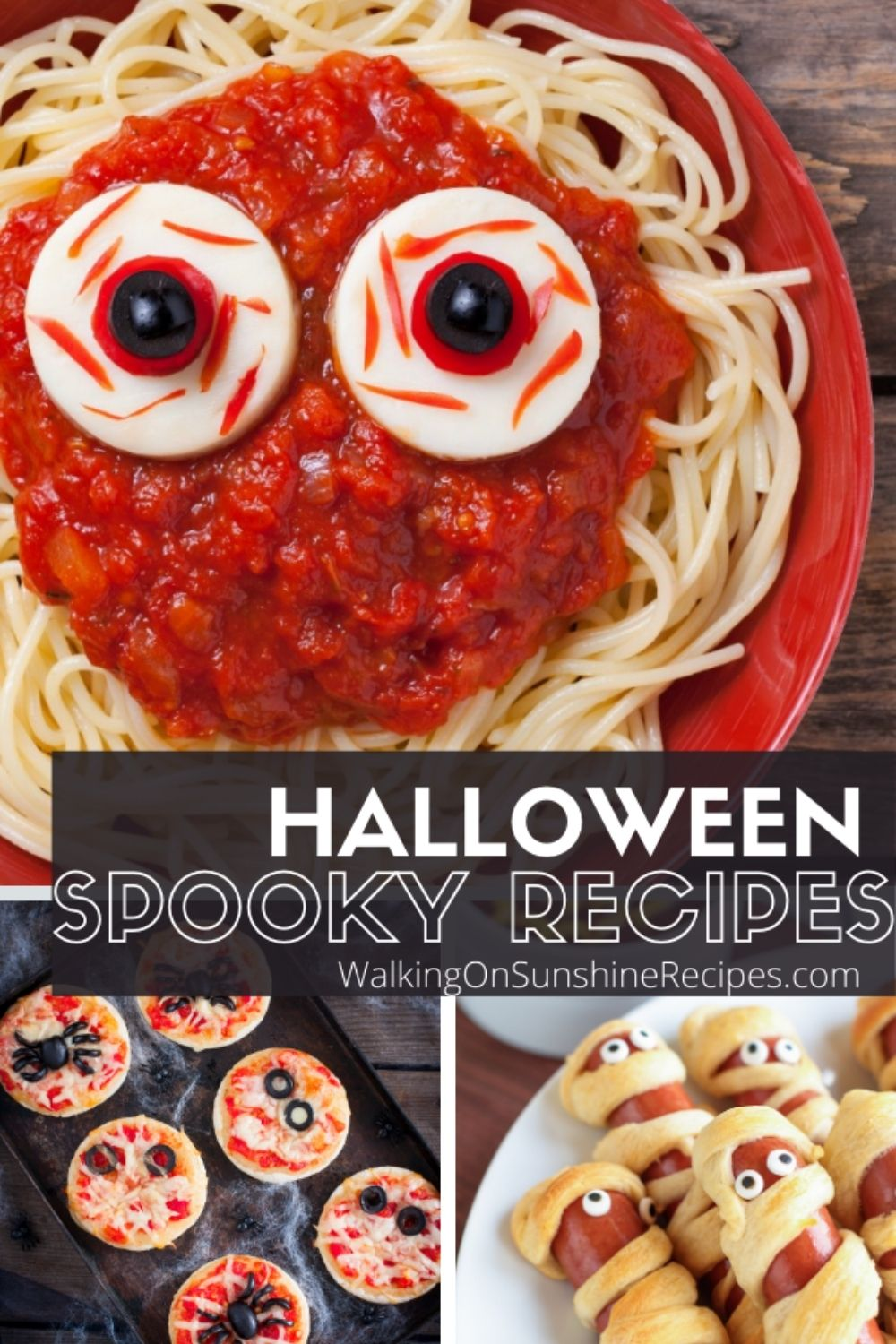 Spaghetti with Ghost Meatballs for Halloween.