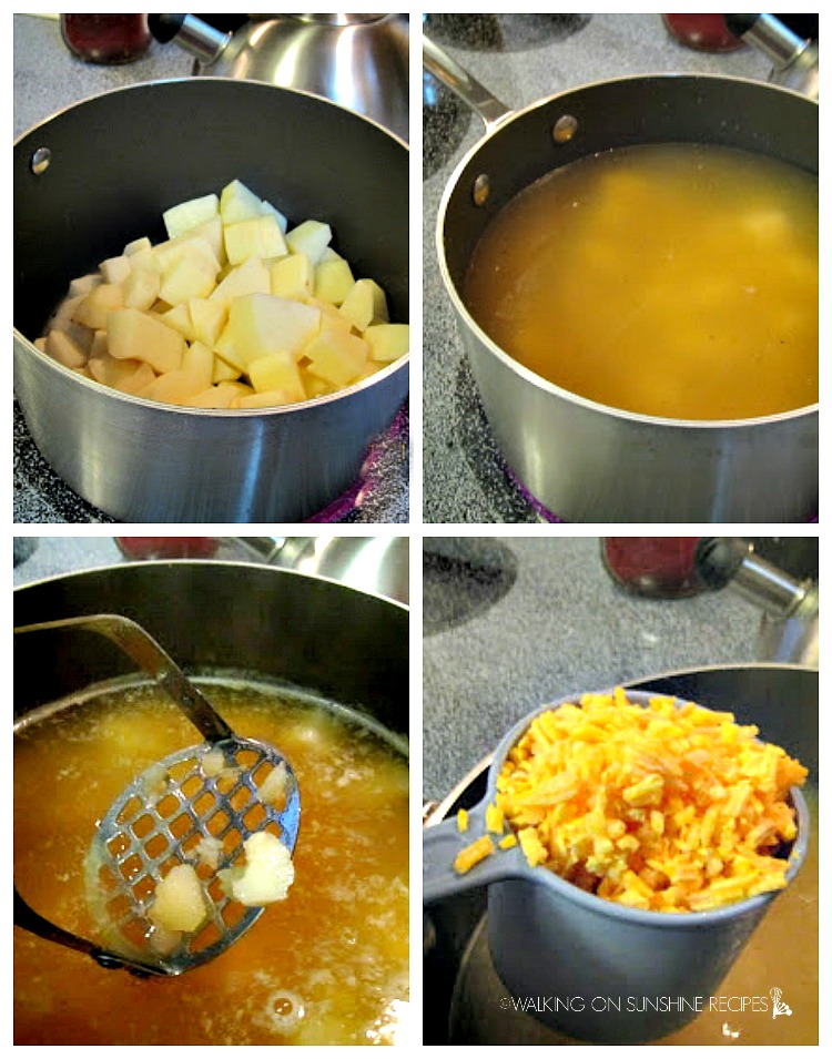 Cooking potatoes for homemade potato soup made with heavy cream or half and half and cheddar cheese.