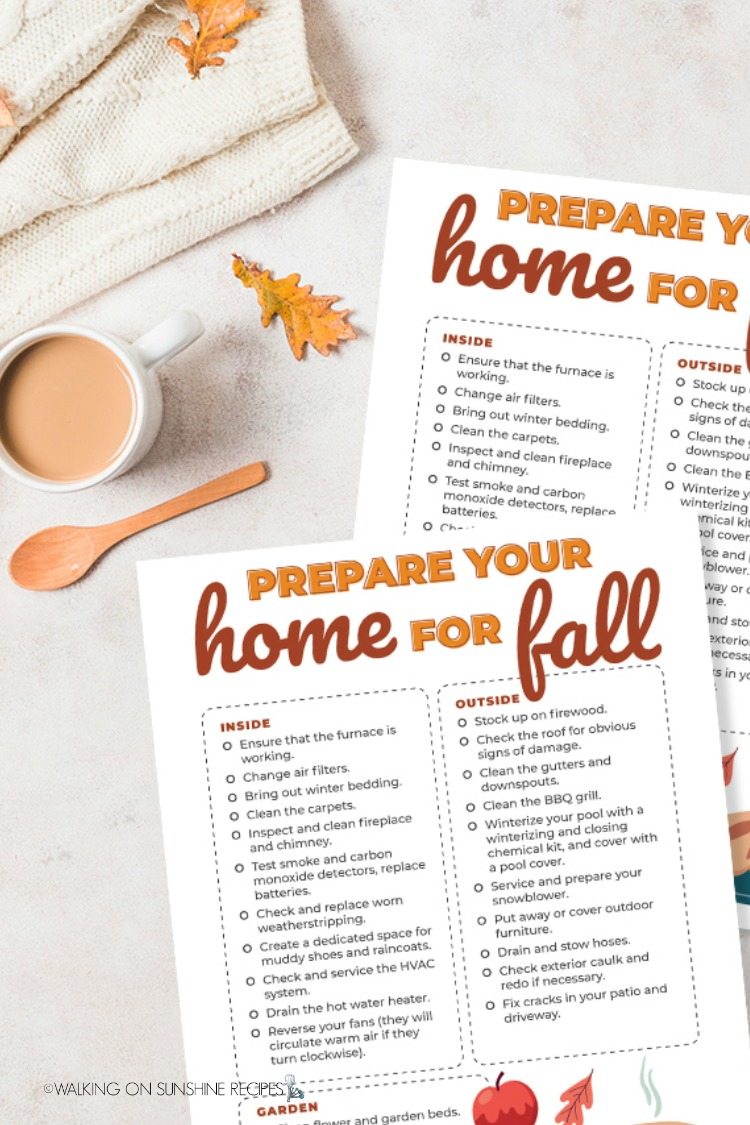 Free printable prepare your home for fall checklist.