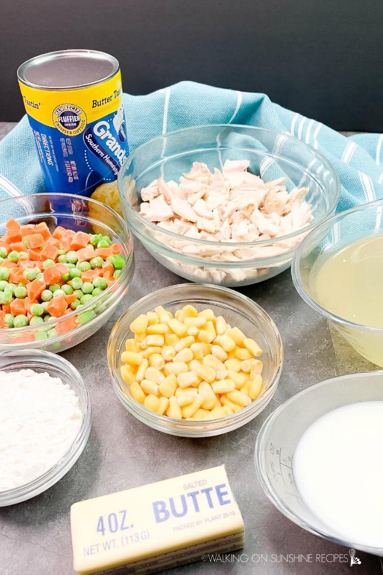 Ingredients for Skillet Chicken Pot Pie with Biscuits