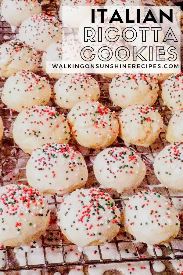 Ricotta cookies with sweet glaze and colorful sprinkles.