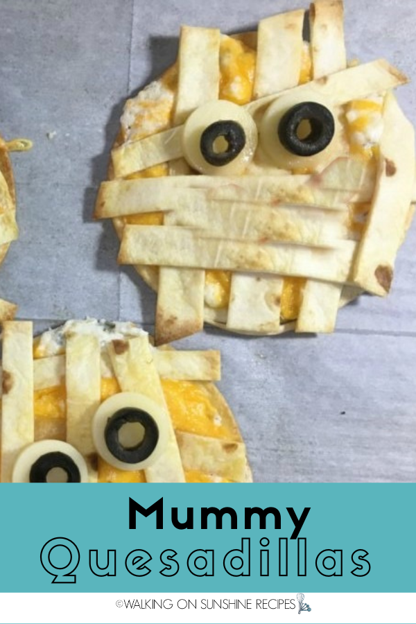 Mummy quesadillas for Spooky Recipes for Halloween Night.