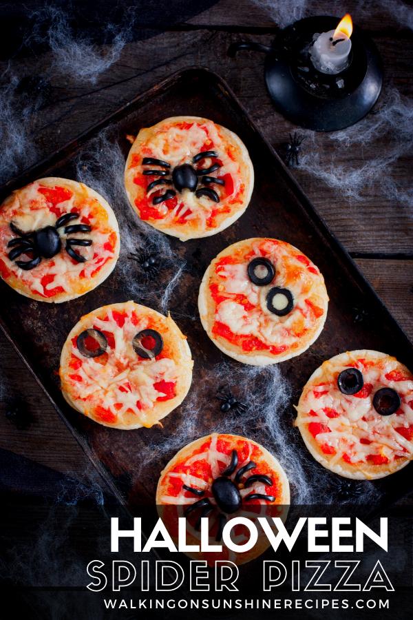 spider pizza for Halloween dinner.