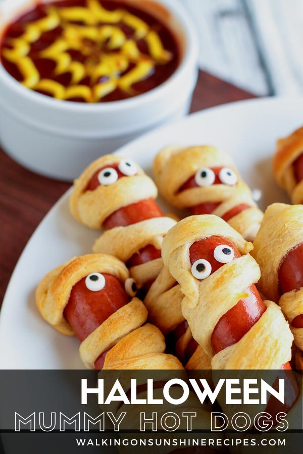 Mummy hot dogs for Halloween Night dinner.