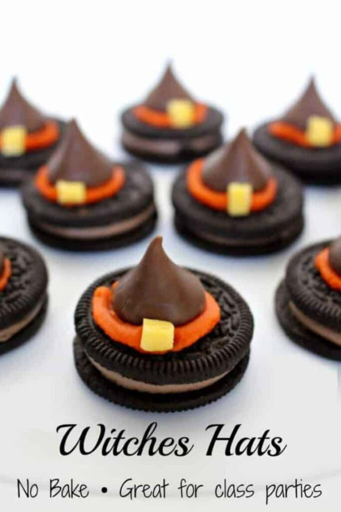Witches Hats made with Oreo Cookies and Candy Kisses.