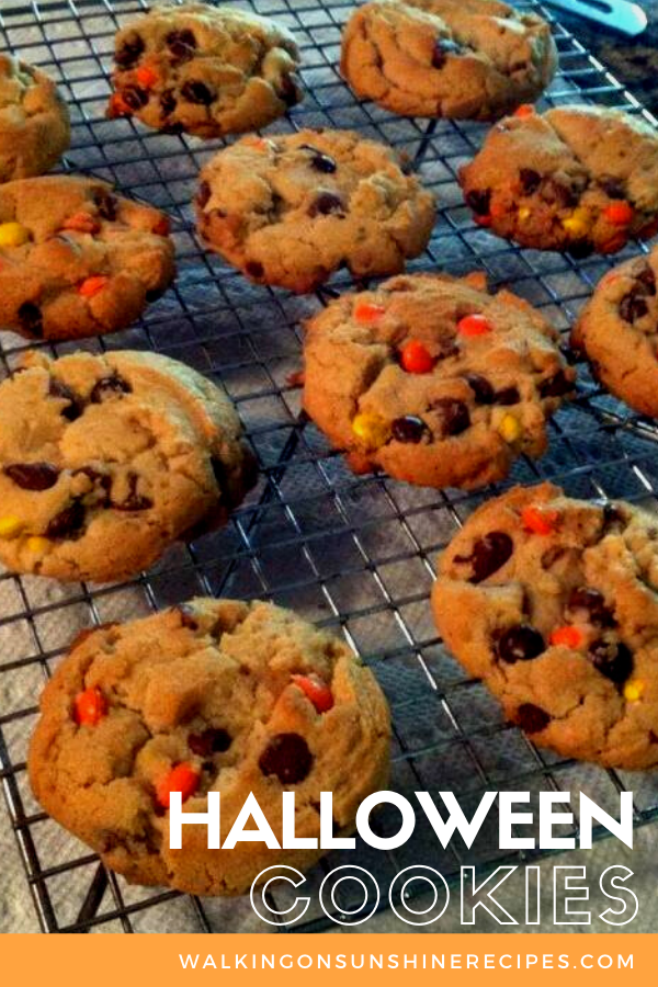 Halloween cookies on cooling rack.