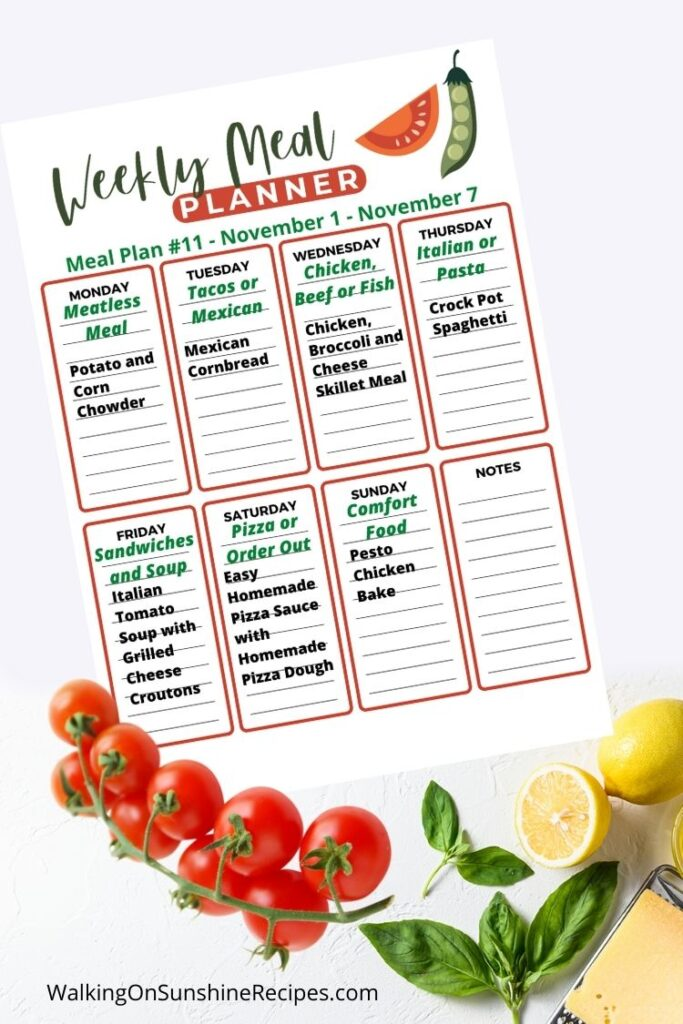 Weekly Meal Plan for November 1, 2020