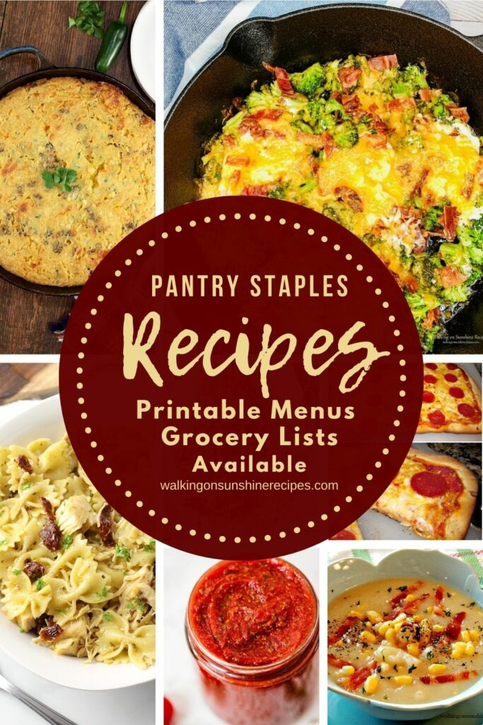 7 pantry staple recipes for dinner this week with meal plans, grocery lists and freezer lists available.