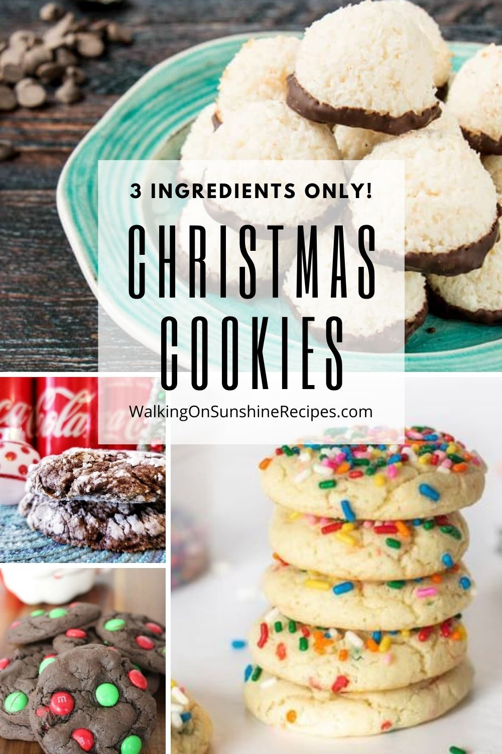Sprinkle cookies, chocolate cookies and coconut cookies all made with only 3 ingredients.