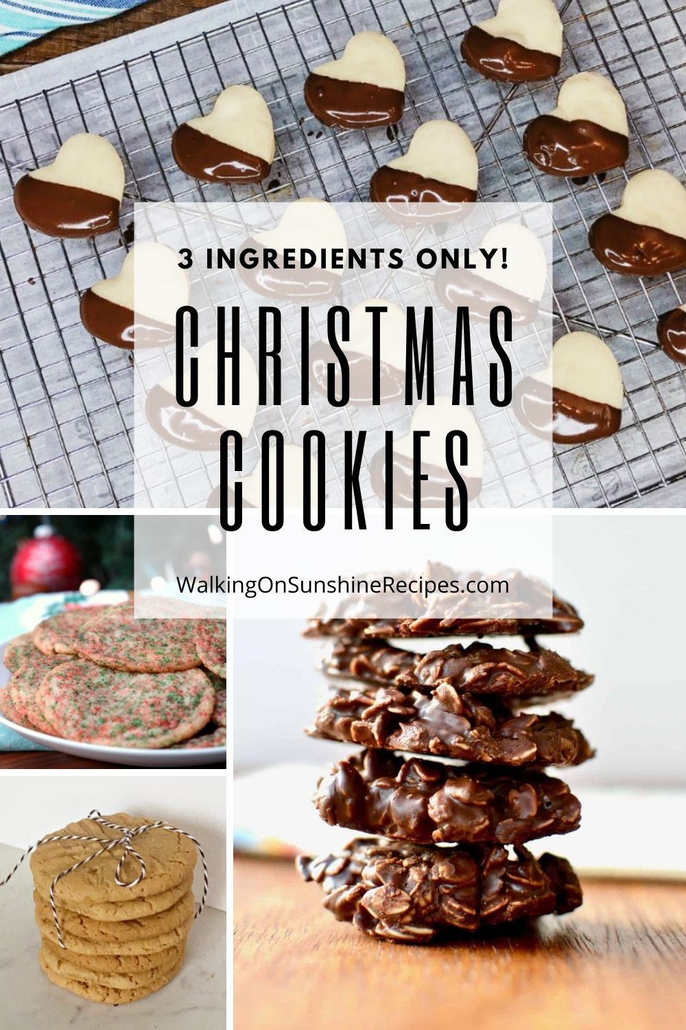 Heart shaped cookies, Funfetti cookies, peanut butter cookies and chocolate oatmeal cookies all have 3 ingredients.