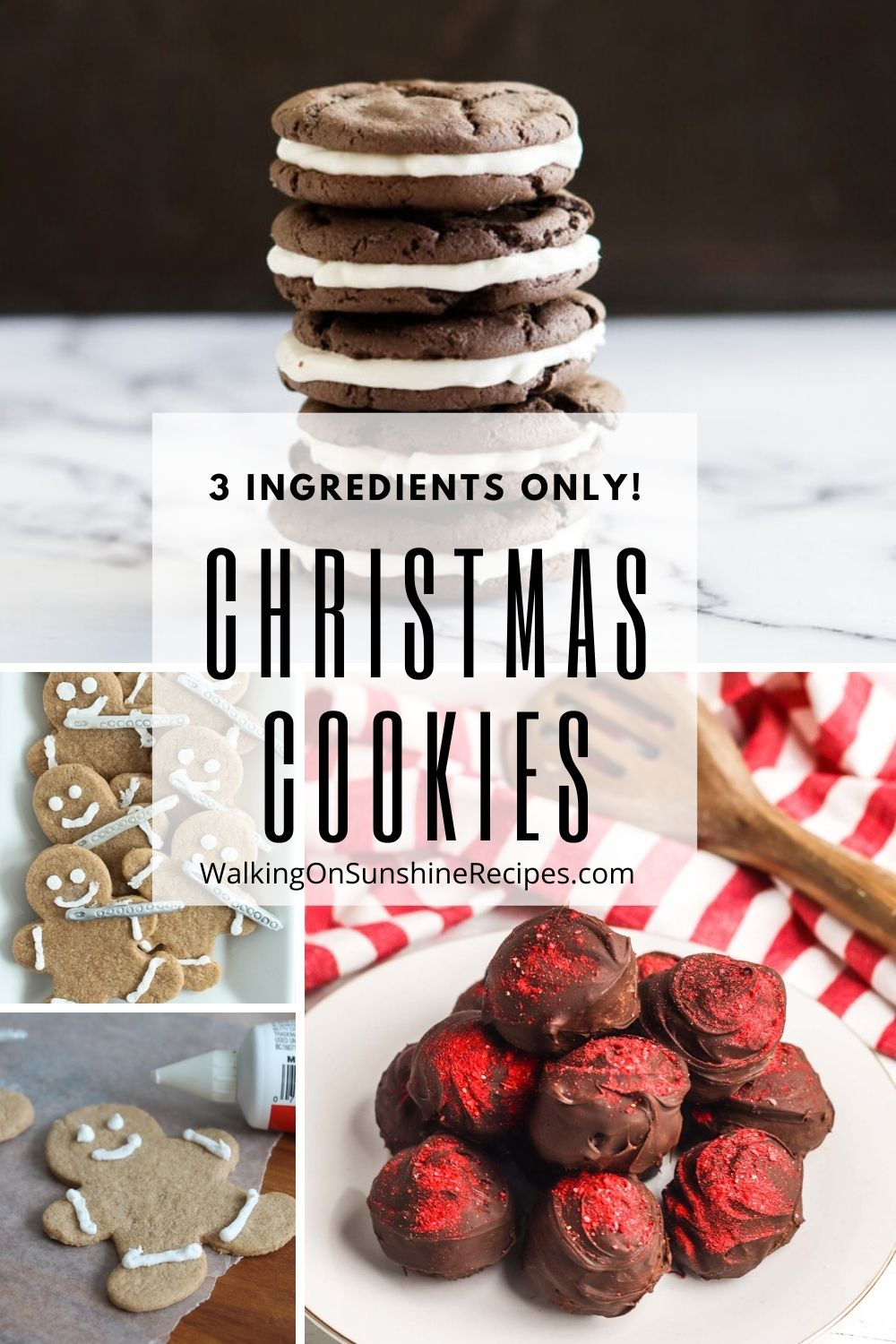 4 different recipes that only need 3 ingredients to bake and enjoy for the holidays.