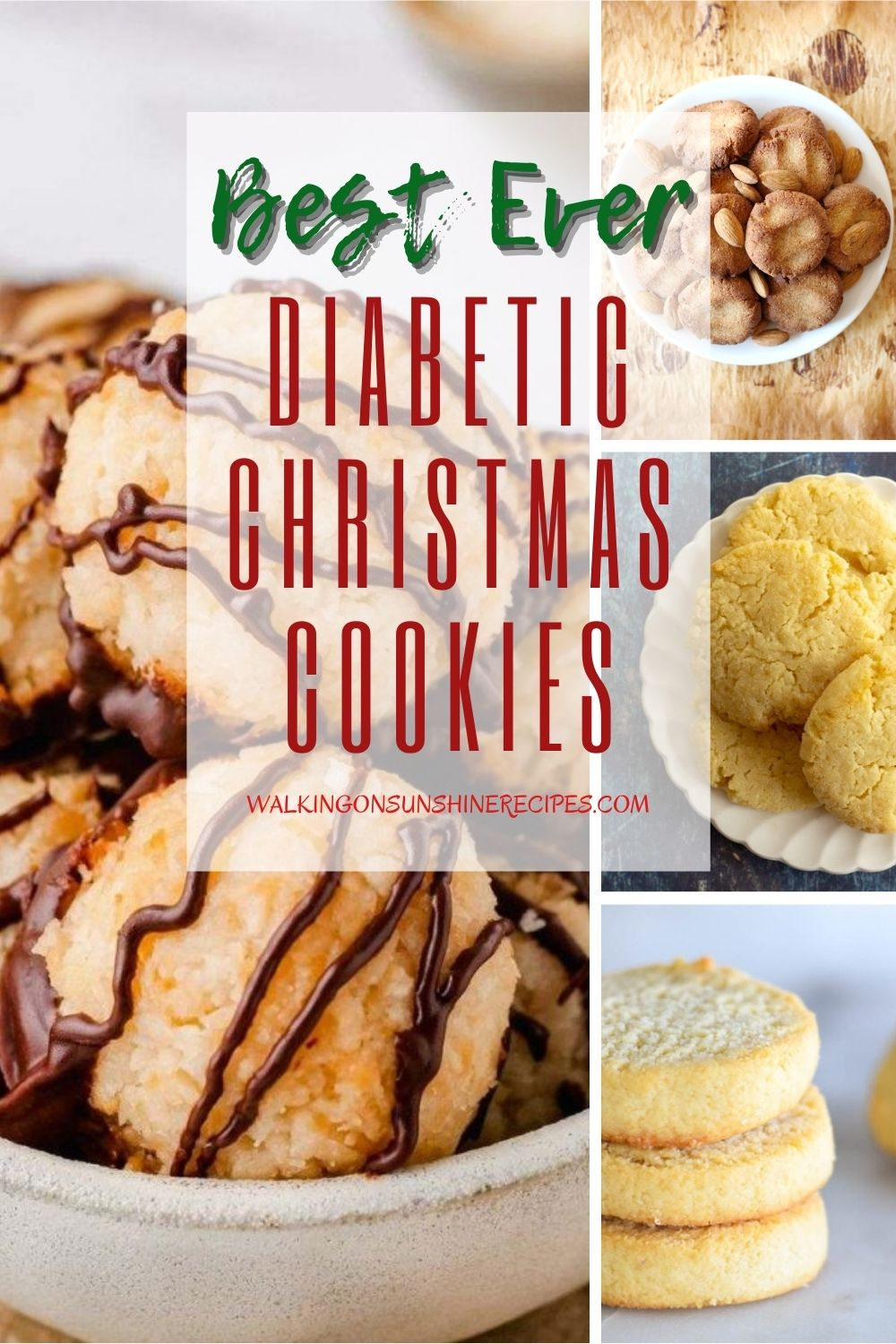 4 different cookie recipes that are diabetic friendly for the holidays.