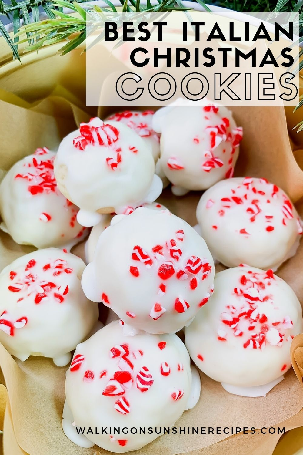 Glazed cookies with crushed peppermint candies.