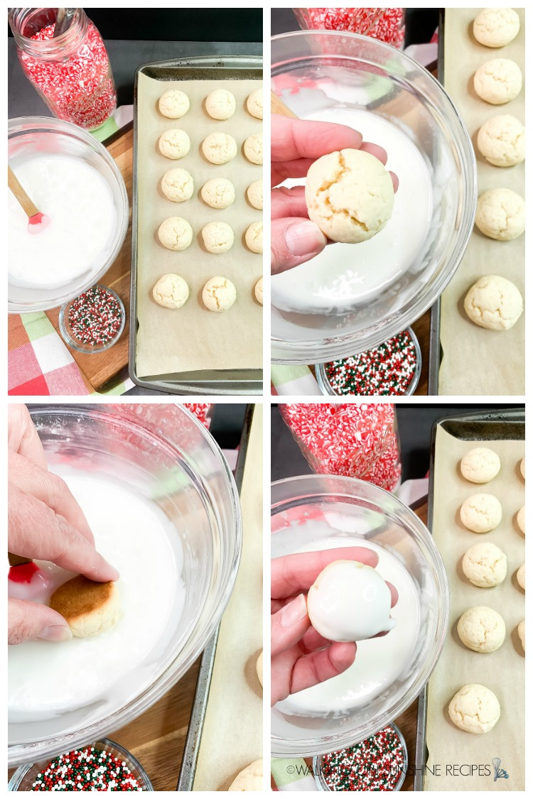 Adding and Dipping Cookies in Glaze