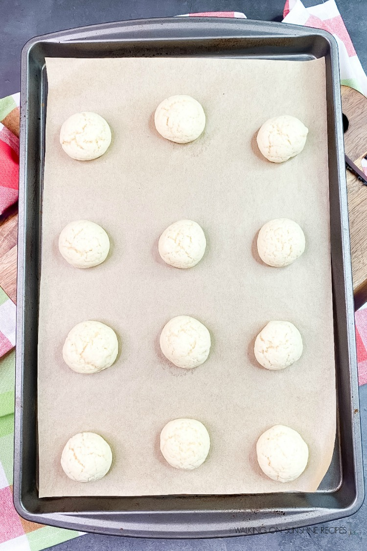 Baked cookies on parchment lined baking tray