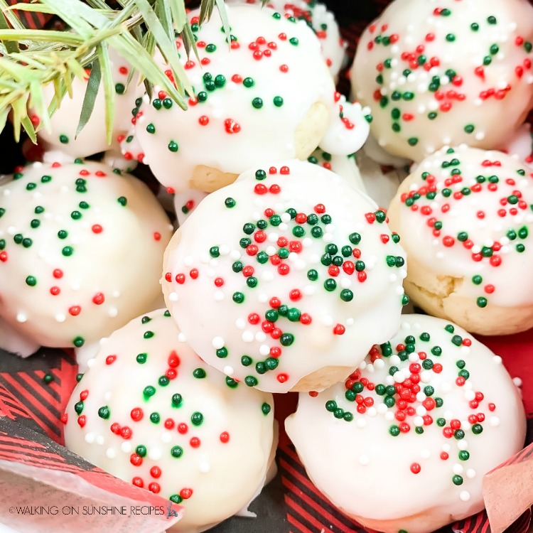 Best Italian Christmas Cookies with red and green sprinkles