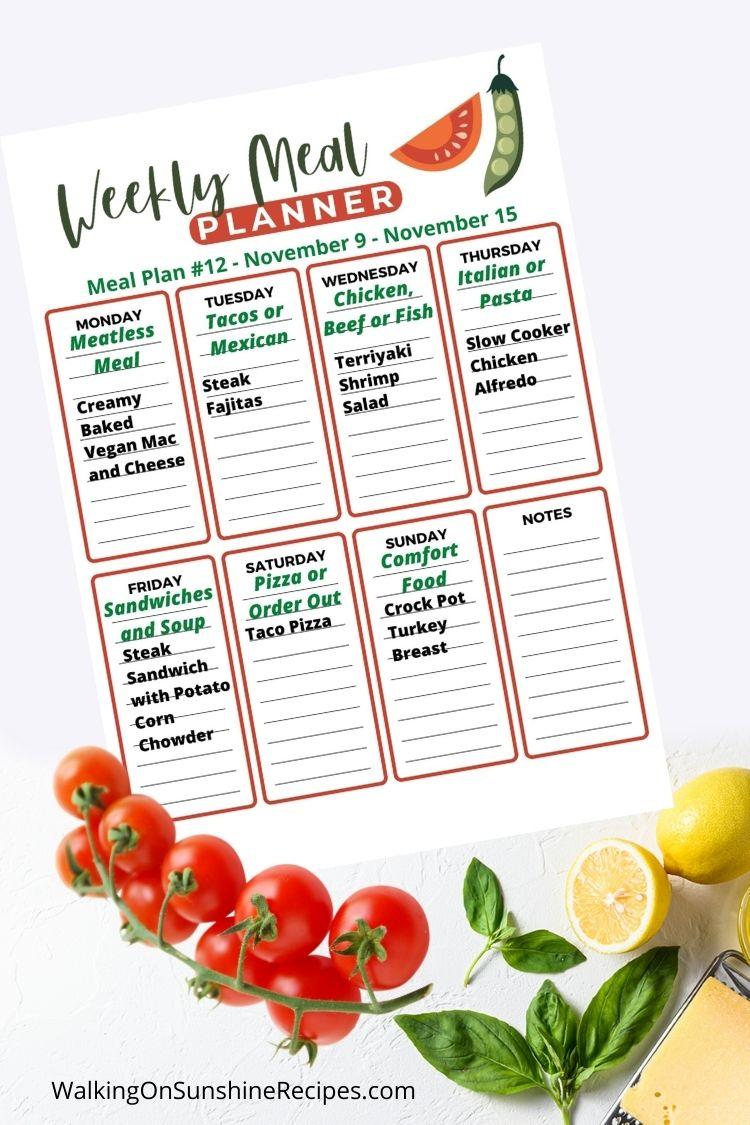 Weekly meal plan schedule