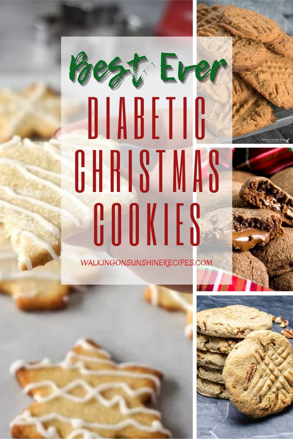 Christmas cut out cookies, peanut butter cookies, chocolate peanut butter cookies, Cinnamon pecan cookies are all diabetic friendly recipes for the holidays.