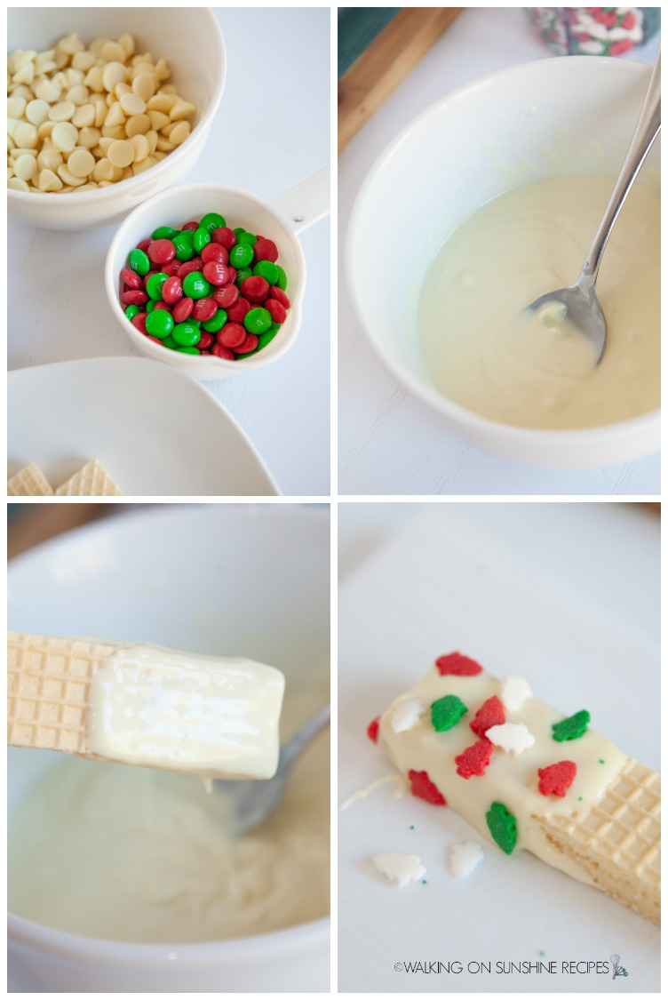 melted white chocolate chips, sugar wafer cookies, assorted Christmas sprinkles for no bake cookies.