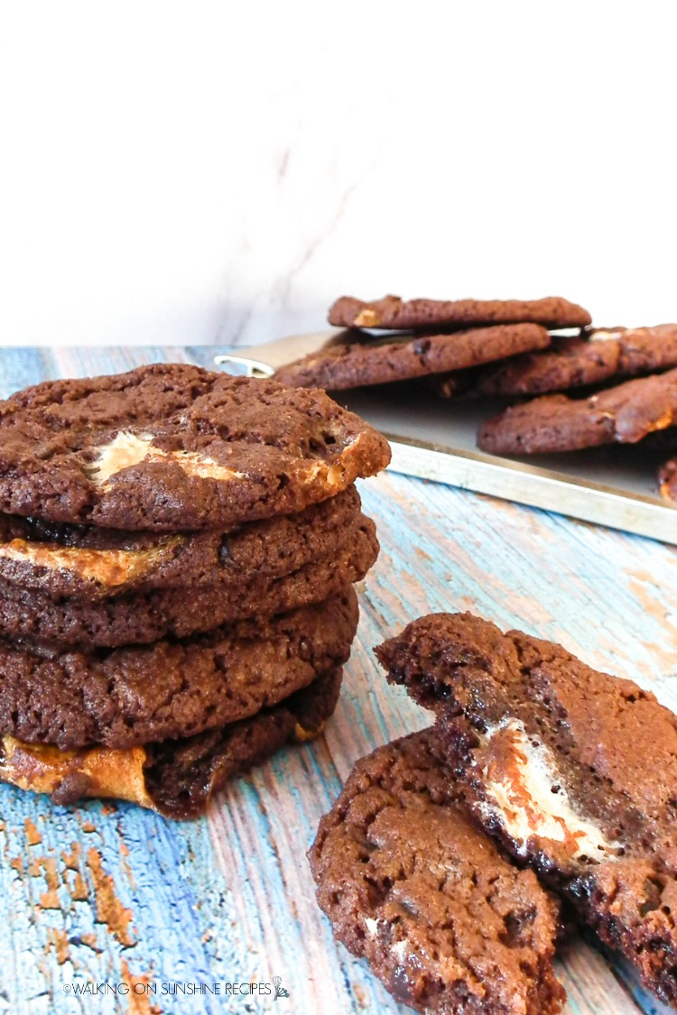 Hot Chocolate Marshmallow Cookies on wooden board and tray