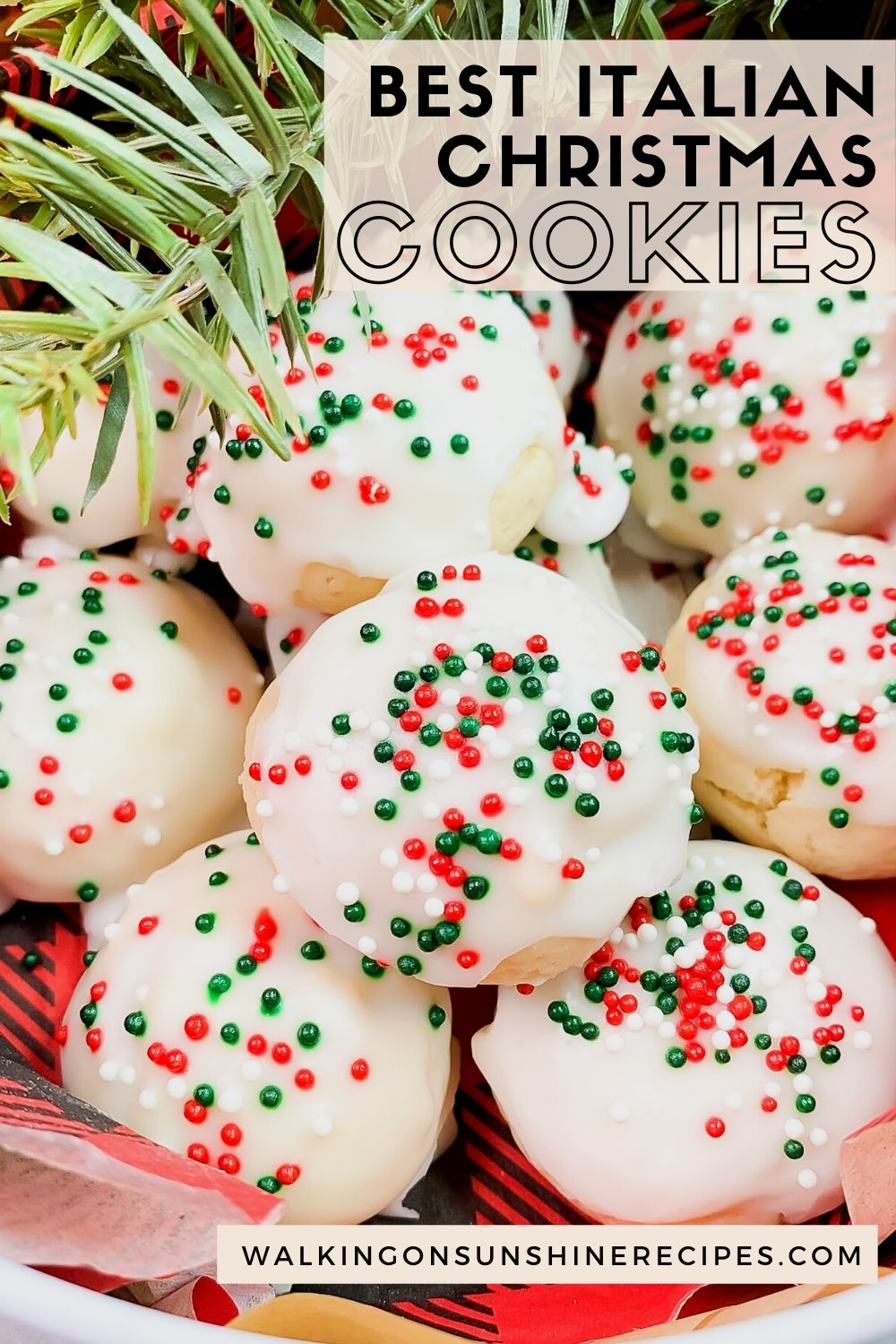 Glazed lemon cookies with red, green and white sprinkles.