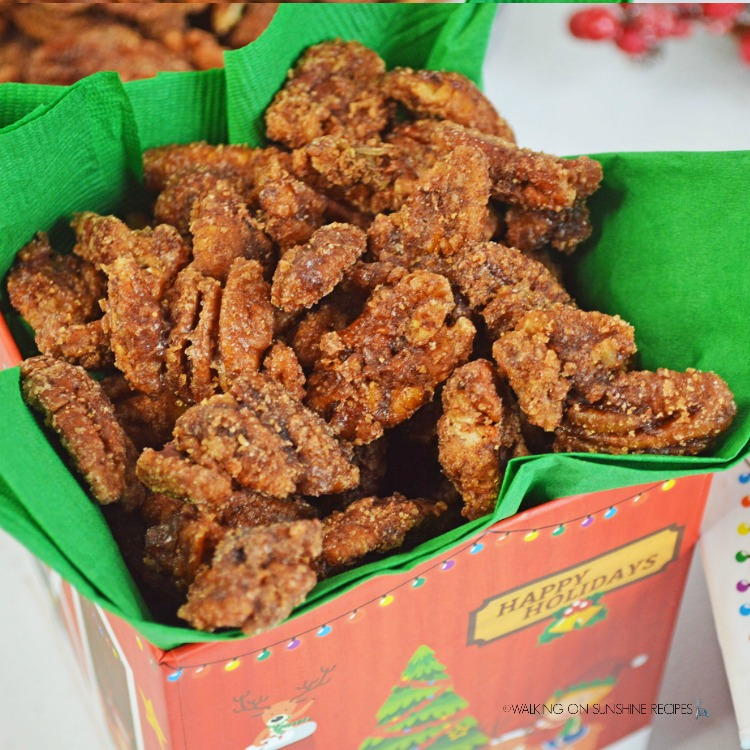 Candied Pecans in Christmas Snacks Box