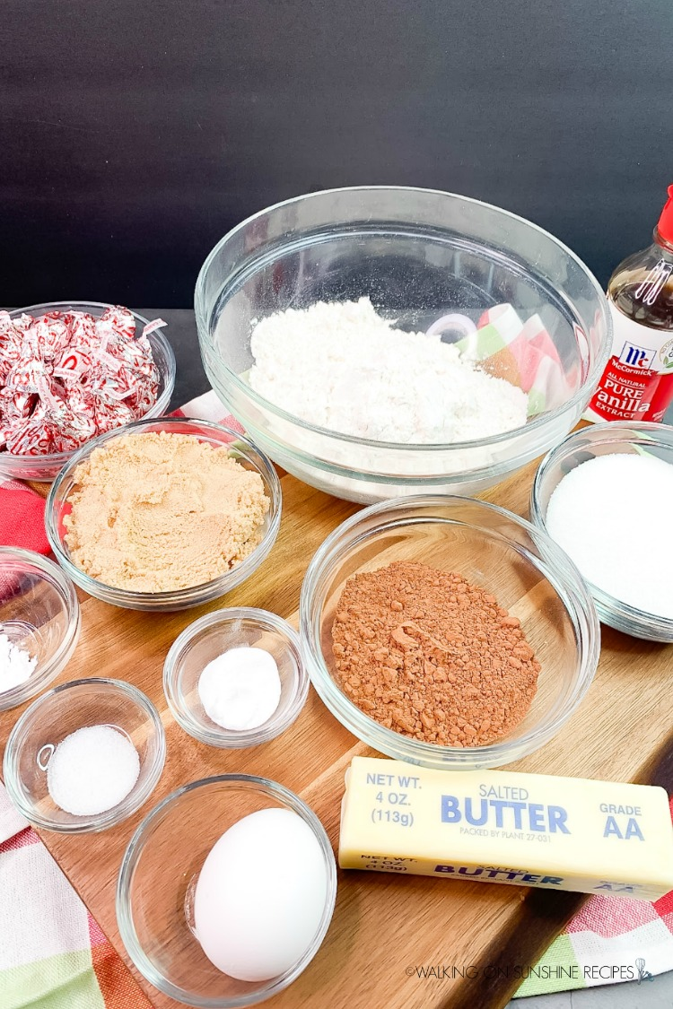 Ingredients for Christmas Peppermint Cookies