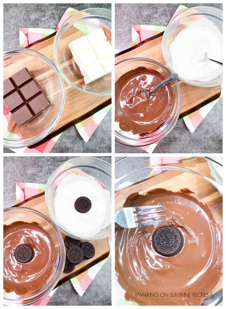 Melting chocolate and dipping Oreo Cookies