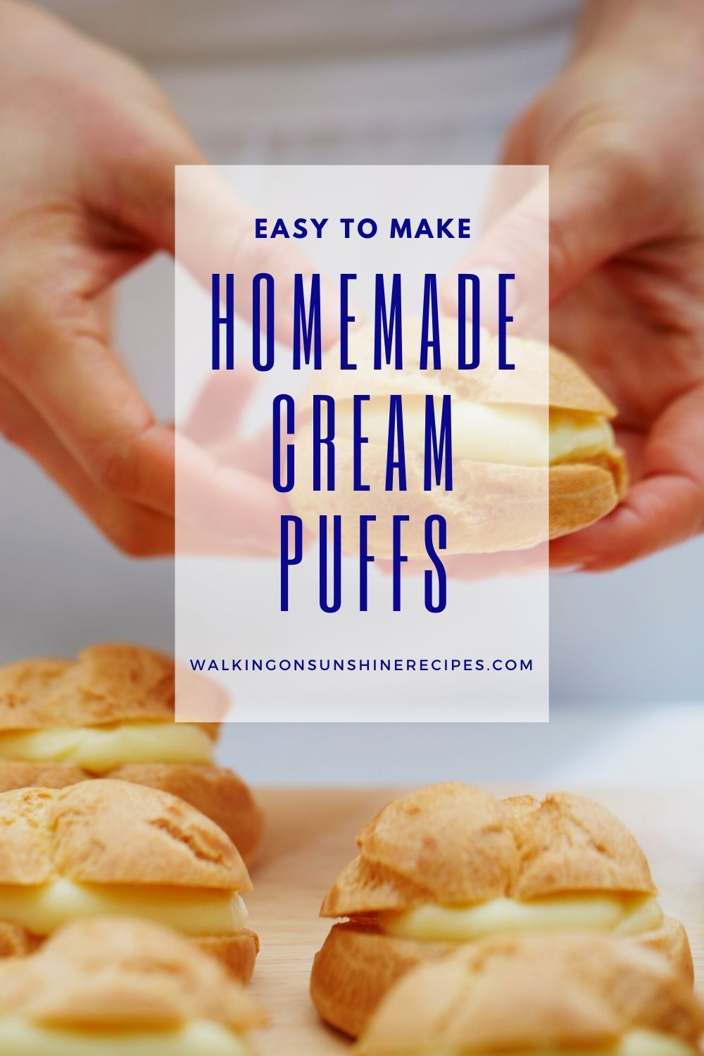 Girl holding homemade cream puffs in hands showing how easy they are to make.