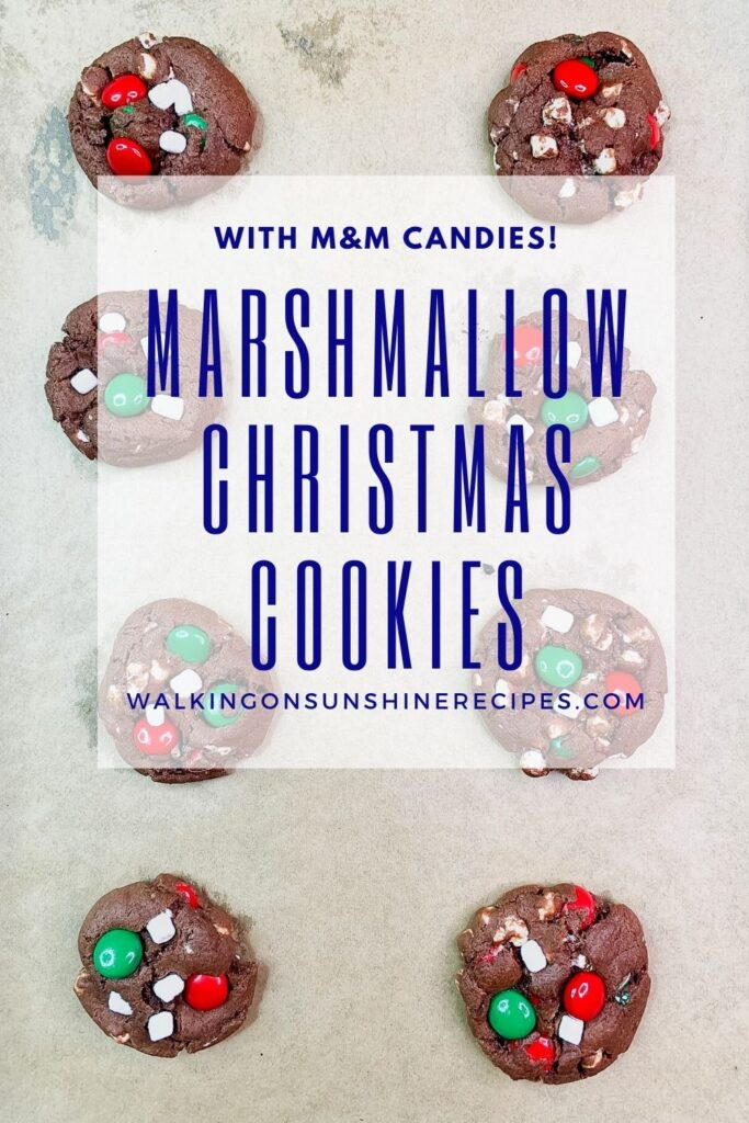 Chocolate cookies stuffed with marshmallows and M&M candy pieces.
