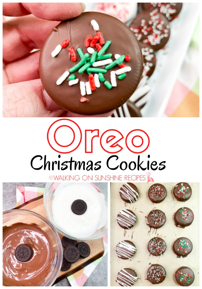 Oreo Christmas Cookies dipped in melted chocolate and covered with sprinkles