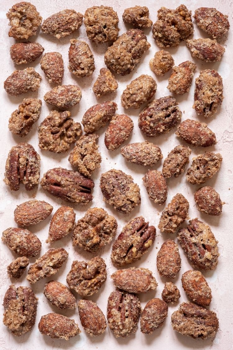 Christmas snacks ideas -candied pecans on baking tray.