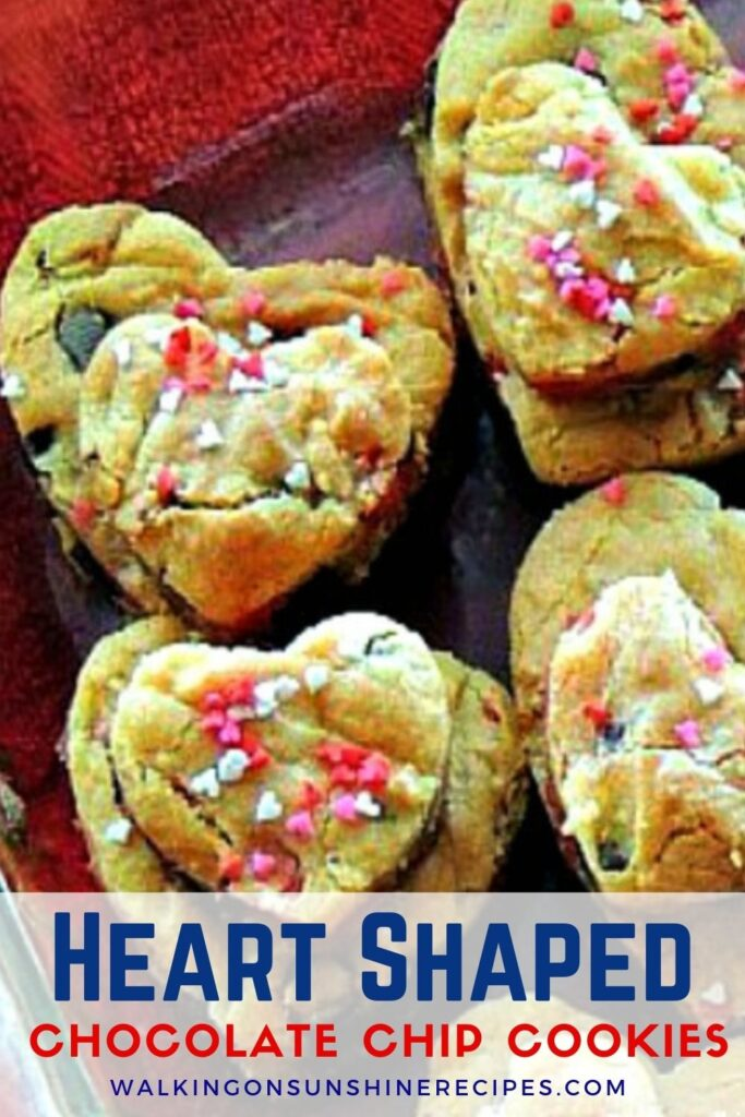 Heart shaped chocolate chip cookies with Valentine's Day sprinkles