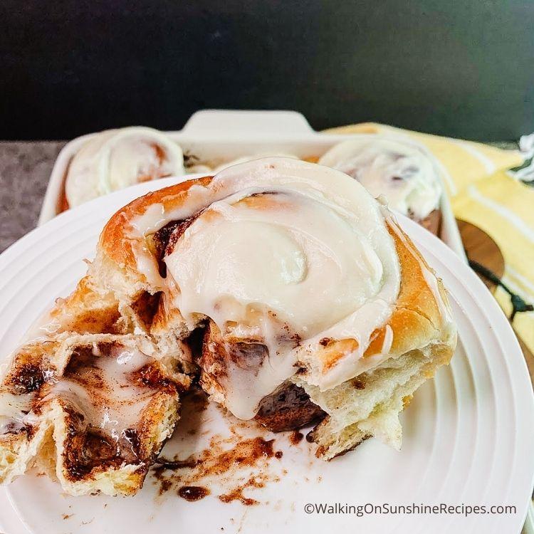 Bread Machine Cinnamon Rolls on white plate