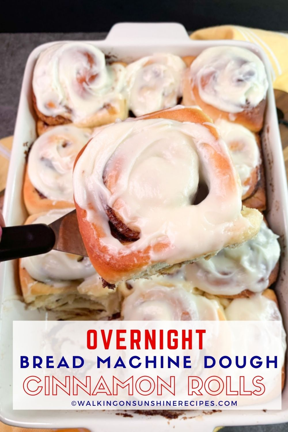Cinnamon roll dough made in a bread machine with cream cheese frosting.