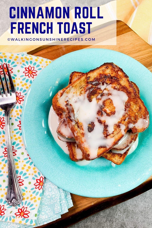 French toast with cinnamon sugar glaze on blue plate.