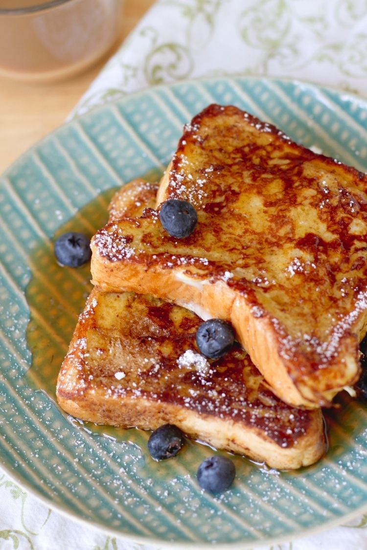 french toast frozen and reheated served with maple syrup